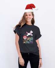 Bring Me Cupcakes Tell Me I'm Pretty Unicorn Classic T-Shirt lifestyle-holiday-crewneck-front-1