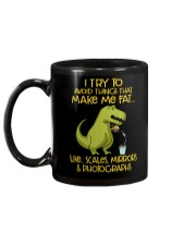 I Try To Avoid Things That Make Me Fat Dinosaur Mug back