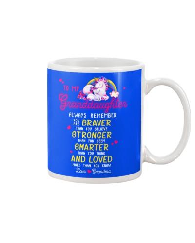 Unicorn Granddaughter Grandma Braver Stronger Smar