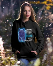 I May Not Be Perfect Wolf Hooded Sweatshirt lifestyle-holiday-hoodie-front-5