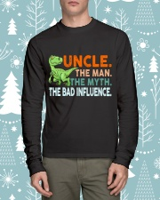 Dinosaur Uncle Bad Influence Funny Long Sleeve Tee lifestyle-holiday-longsleeves-front-1