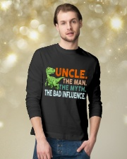 Dinosaur Uncle Bad Influence Funny Long Sleeve Tee lifestyle-holiday-longsleeves-front-3