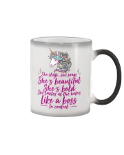 She Slays She Prays She's Beautiful Unicorn Color Changing Mug tile