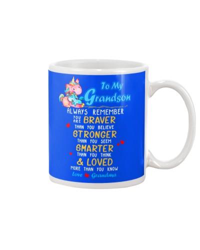 Unicorn Grandson Grandma Braver Stronger Smarter