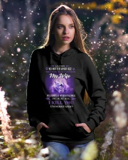 My Wife Will Always Be My Beautiful Angel Wolf Hooded Sweatshirt lifestyle-holiday-hoodie-front-5