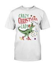 Crazy Christmas Lady Dinosaur Classic T-Shirt thumbnail