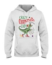 Crazy Christmas Lady Dinosaur Hooded Sweatshirt thumbnail