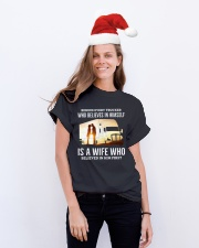 A Wife Who Believe In Him First Trucker Classic T-Shirt lifestyle-holiday-crewneck-front-1