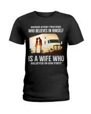 A Wife Who Believe In Him First Trucker Ladies T-Shirt thumbnail