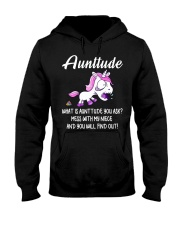 What Is Aunttude You Ask Unicorn Hooded Sweatshirt tile