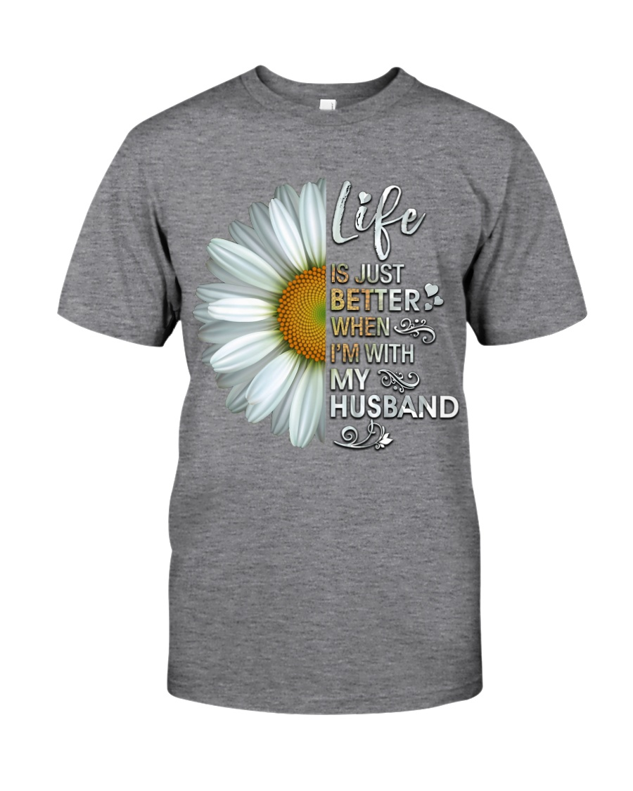 I'm With My Husband White Daisy Classic T-Shirt
