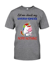 Let Me Check My Giveashitometer Unicorn Classic T-Shirt front