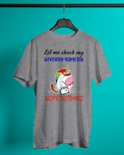 Let Me Check My Giveashitometer Unicorn Classic T-Shirt lifestyle-mens-crewneck-front-3
