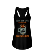 A Woman Cannot Survive Camping Ladies Flowy Tank thumbnail