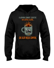 A Woman Cannot Survive Camping Hooded Sweatshirt thumbnail