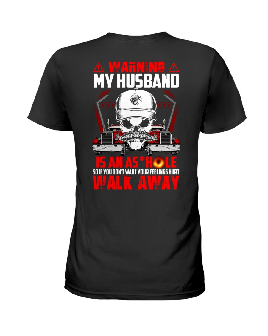 My Husband Is An Asshole Trucker Ladies T-Shirt