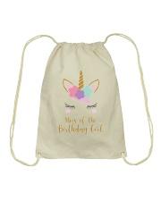 Cute Unicorn Mom Shirt Mom of the Birthday Girl Drawstring Bag thumbnail