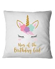 Cute Unicorn Mom Shirt Mom of the Birthday Girl Square Pillowcase thumbnail