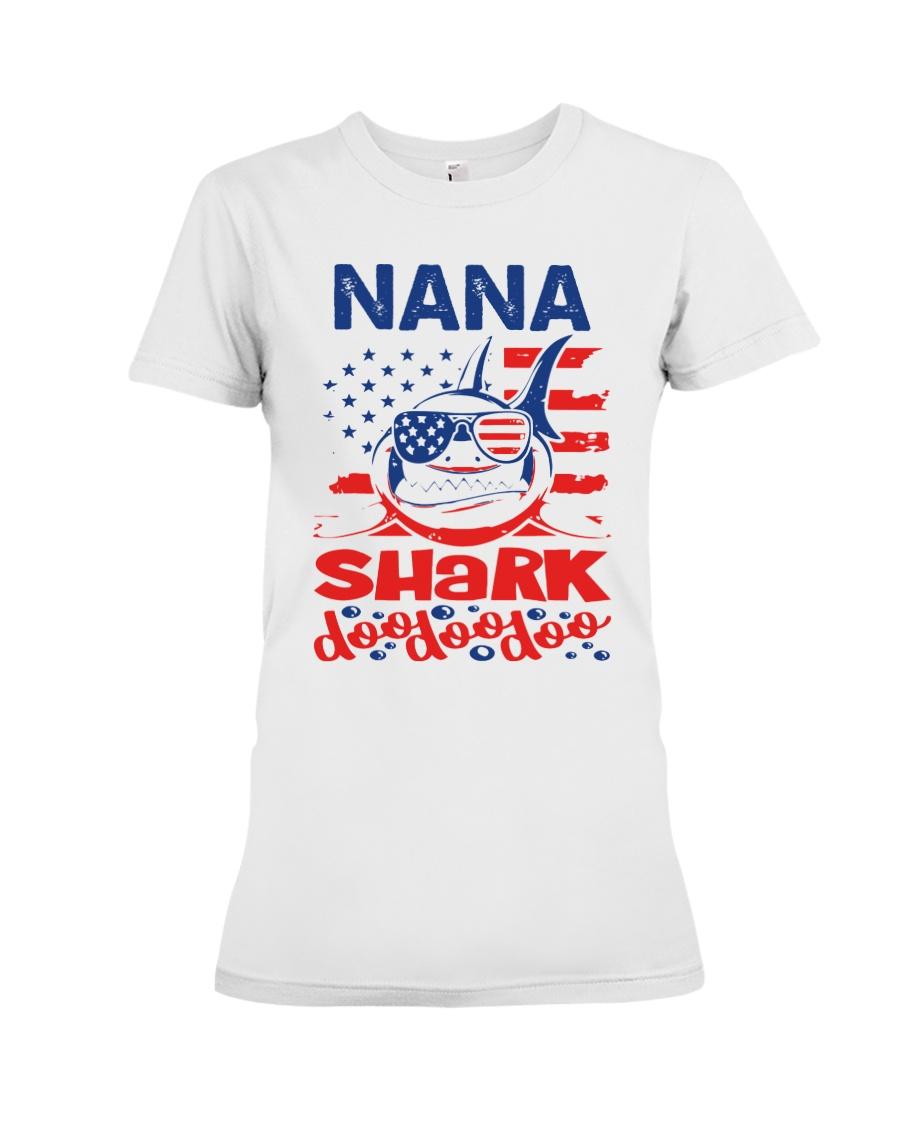 Nana Shark 4th of July Funny Gift Premium Fit Ladies Tee