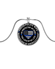 Proud Police Wife Metallic Circle Necklace front