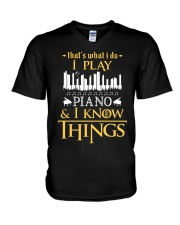 I Play Piano V-Neck T-Shirt thumbnail