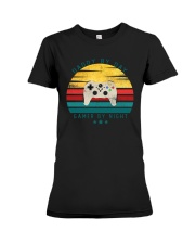 Dad By Day Gamer By Night Premium Fit Ladies Tee thumbnail