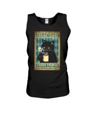 Cat I drink coffee I hate people Unisex Tank thumbnail