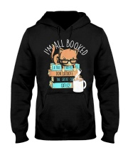 I'm All Booked Cute Kitty Cat Librarian Reading Hooded Sweatshirt thumbnail