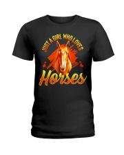Just A Girl Who Loves Horses Ladies T-Shirt thumbnail