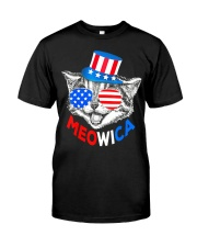 Red White Blue Cat 4th of July Meowica Classic T-Shirt front