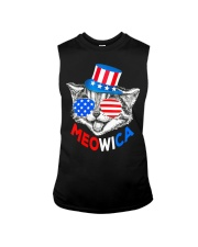 Red White Blue Cat 4th of July Meowica Sleeveless Tee thumbnail