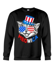 Red White Blue Cat 4th of July Meowica Crewneck Sweatshirt thumbnail