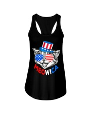 Red White Blue Cat 4th of July Meowica Ladies Flowy Tank tile