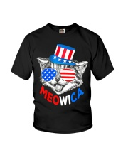 Red White Blue Cat 4th of July Meowica Youth T-Shirt tile