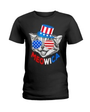 Red White Blue Cat 4th of July Meowica Ladies T-Shirt thumbnail