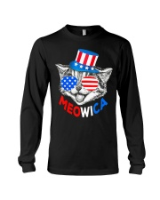 Red White Blue Cat 4th of July Meowica Long Sleeve Tee thumbnail