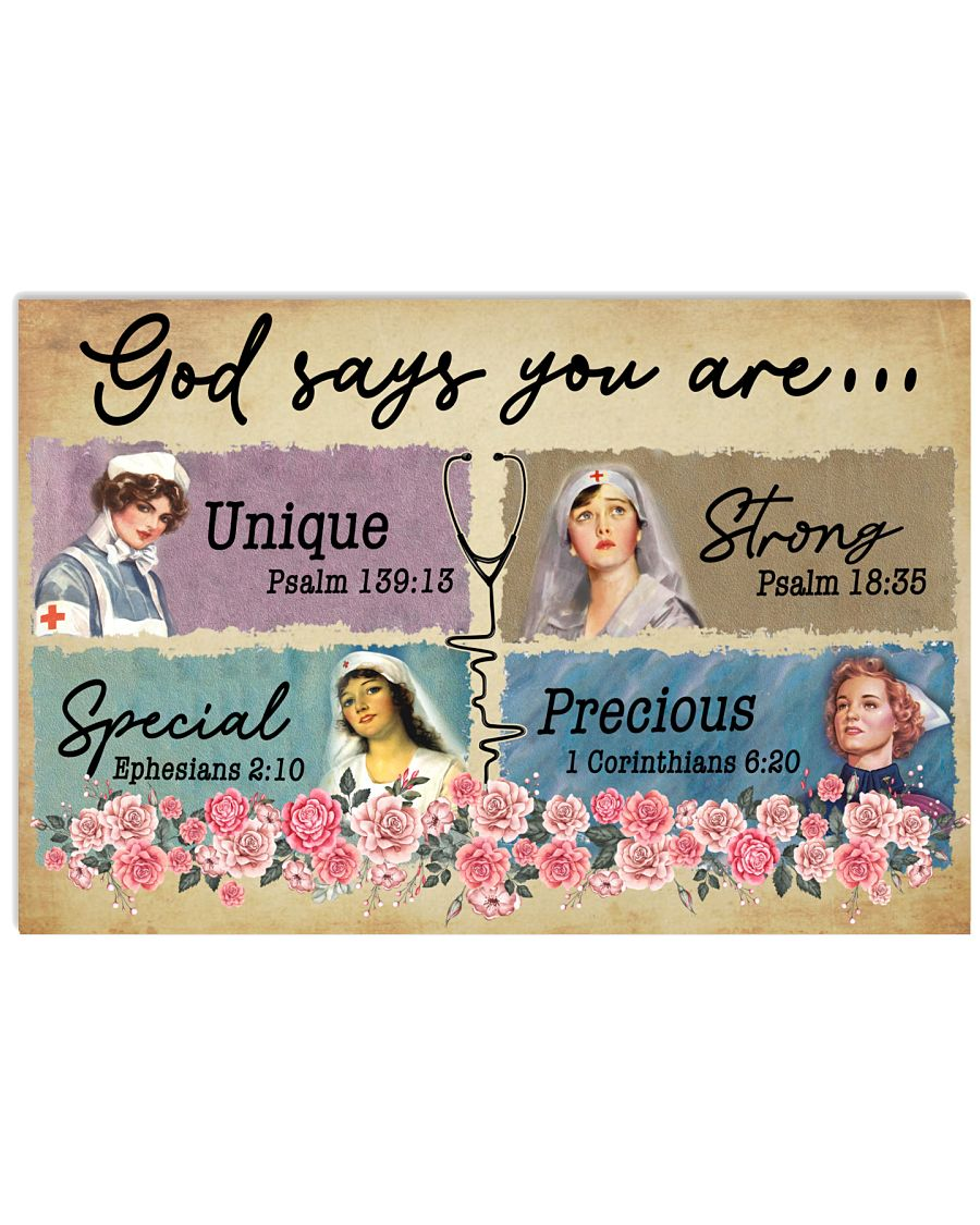 Nurse - God says You are Unique - Special - Strong 24x16 Poster