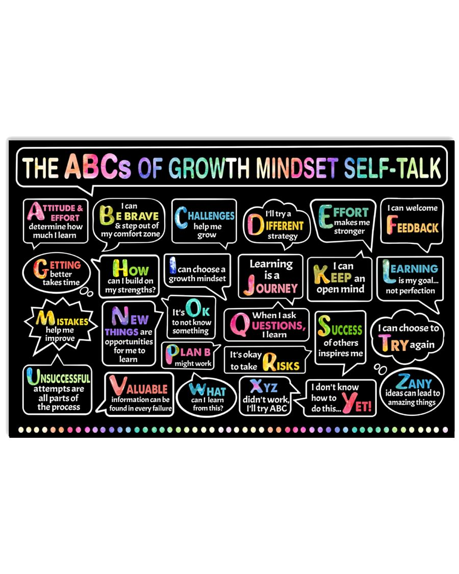 Classroom poster - The ABC's of growth mindset   24x16 Poster
