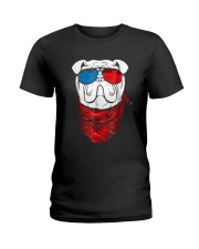 English Bulldog Led T Shirt Sound Activated Glow L Ladies T-Shirt tile