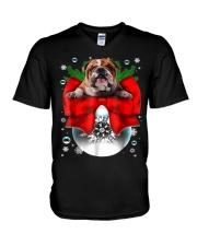 English Bulldog Christmas T Shirt Funny Gifts For  V-Neck T-Shirt thumbnail