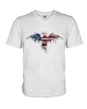 USA Independence Day Celebrate USA Flag Eagle V-Neck T-Shirt thumbnail