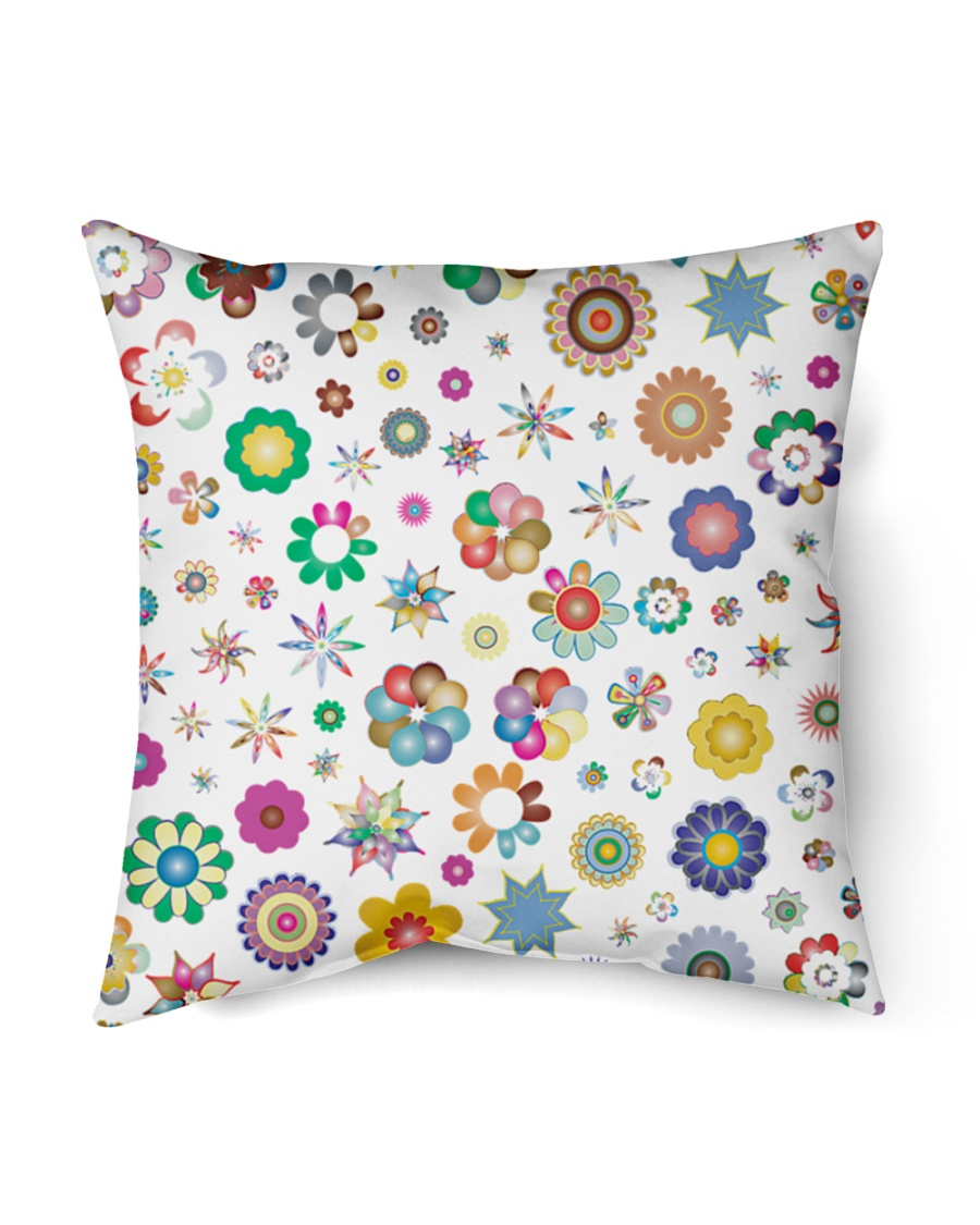 "Rainbow Stars and flowers Pillow  Indoor Pillow - 16"" x 16"""