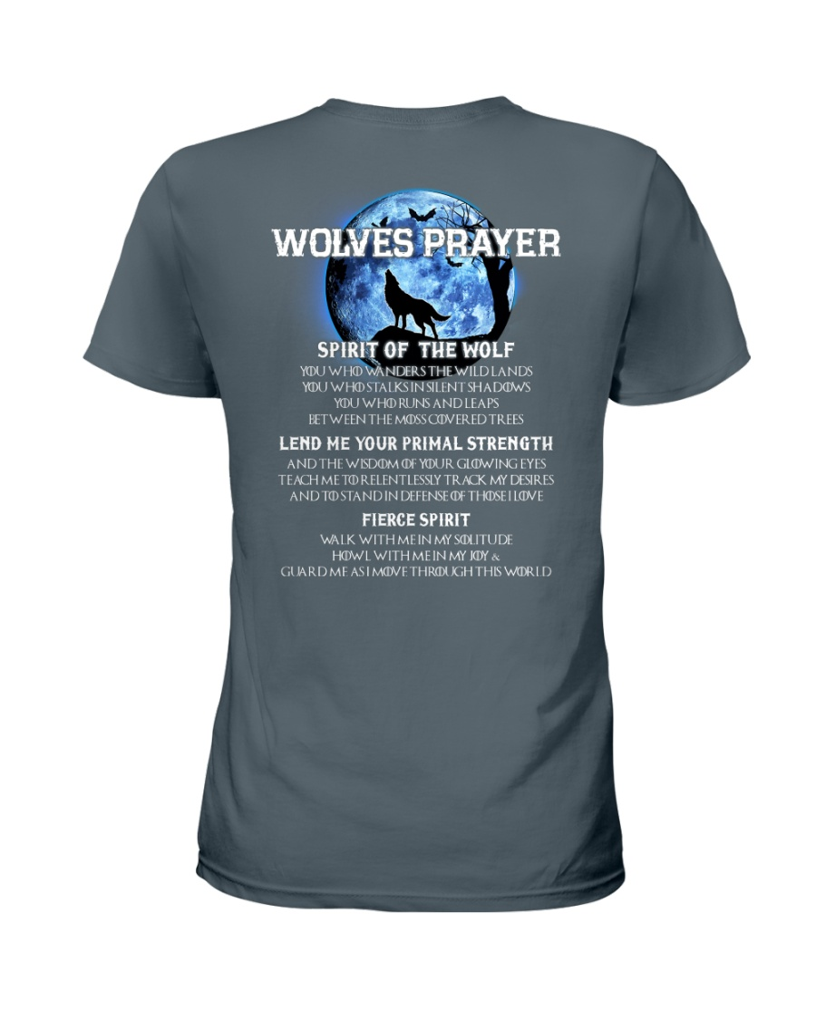 Vikings Wolves Prayer With Blue Moon Shirt Ladies T-Shirt
