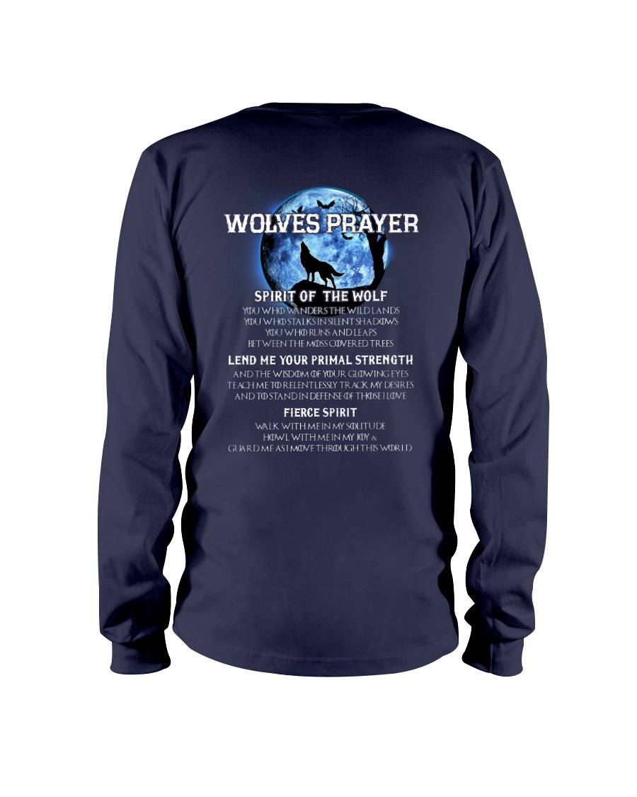 Vikings Wolves Prayer With Blue Moon Shirt Long Sleeve Tee