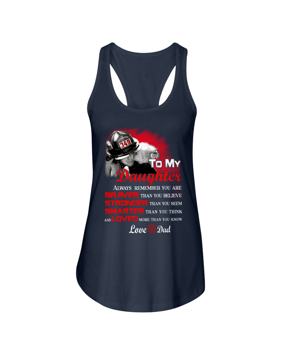 Firefighter To my Daughter Ladies Flowy Tank showcase