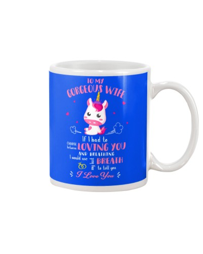 Unicorn Loving You And Breathing Mug