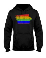 Distressed State of Iowa LGBT Rainbow Gay Pride Hooded Sweatshirt thumbnail