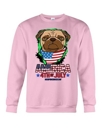 Merica Pug Dog Flag America Fourth Of July