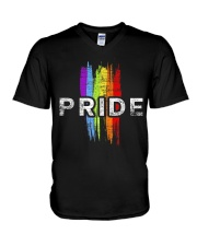 Gay Pride Rainbow Vintage Transgender LGBT Shirt V-Neck T-Shirt thumbnail