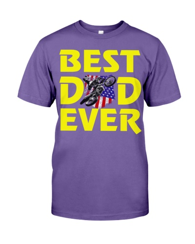 Mens Best Dad Ever TShirt Moto Motocross Rider Tee